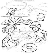 Летние забавы у реки - скачать и распечатать раскраску. Раскраска Дети купаются играют в реке, мальчик загорает  раскраски