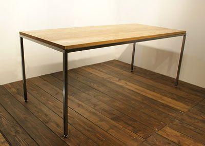 タモ材とスチール脚のダイニングテーブル