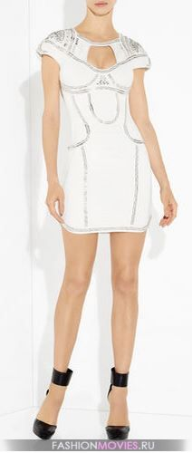 Herve Leger VIVEKA METAL CROCHET EMBROIDERED dress