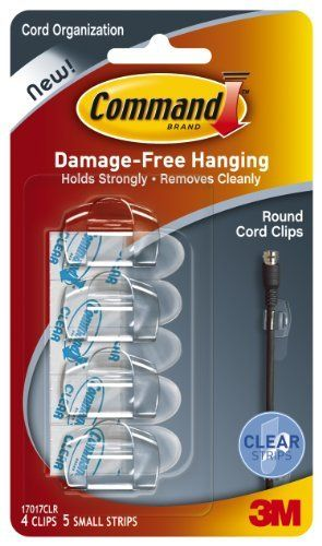 Command Round Cord Clips, Clear, 4-Clip by Command. $3.97. Amazon.com                  3M Adhesive Technology Command products offer simple, damage-free hanging solutions for many projects in your home and office. Simplify decorating, organizing, and celebrating with an array of general and decorative hooks, picture and frame hangers, organization products, and more. Thanks to the innovative Command adhesive strips, you can mount and remount your Command produc...