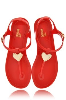 Love Moschino red plastic sandals