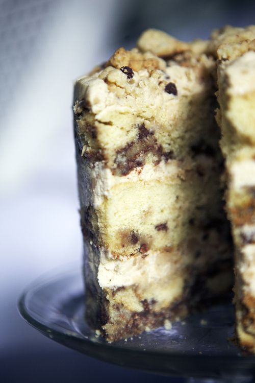 moist brown sugar cake with chunks of cookie dough and cookie dough frosting