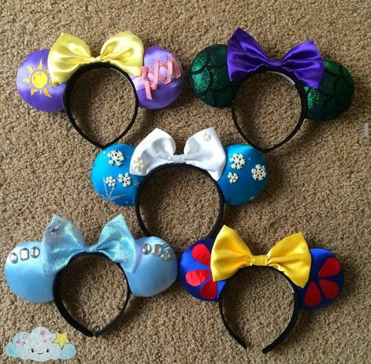 Minnie Mouse Disney Inspired Ears/ Repunzel - Ariel - Frozen - Cinderella - Snow White