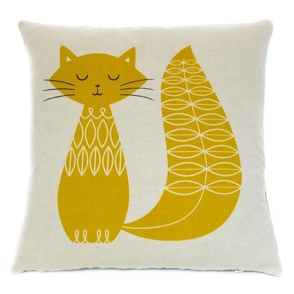 Cat Cushion Mustard found on Polyvore