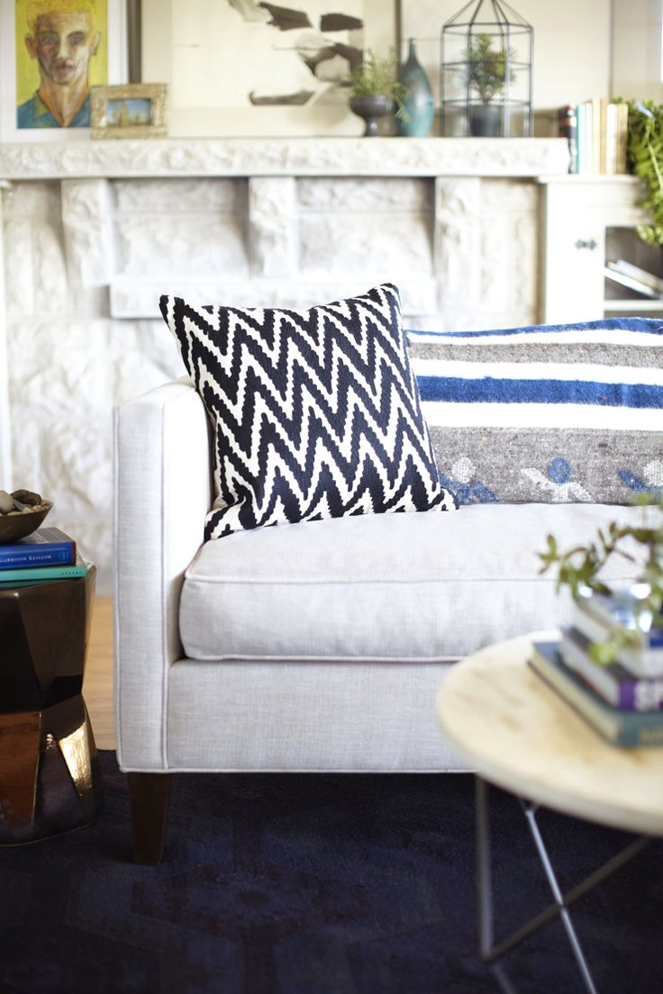 Black and White Chevron Pillow L.A. bungalow makeover by Emily Henderson Spotted: West Elm ...
