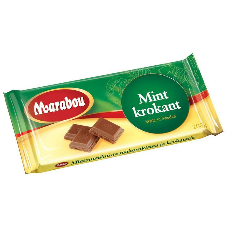A chocolate bar with mint croquante . Made by Marabou.