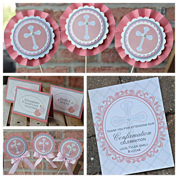 Baptism / First Communion / Religious party decorations. 4 piece party decor box.  Fully assembled and customizable. by CharmingTouchParties on Etsy