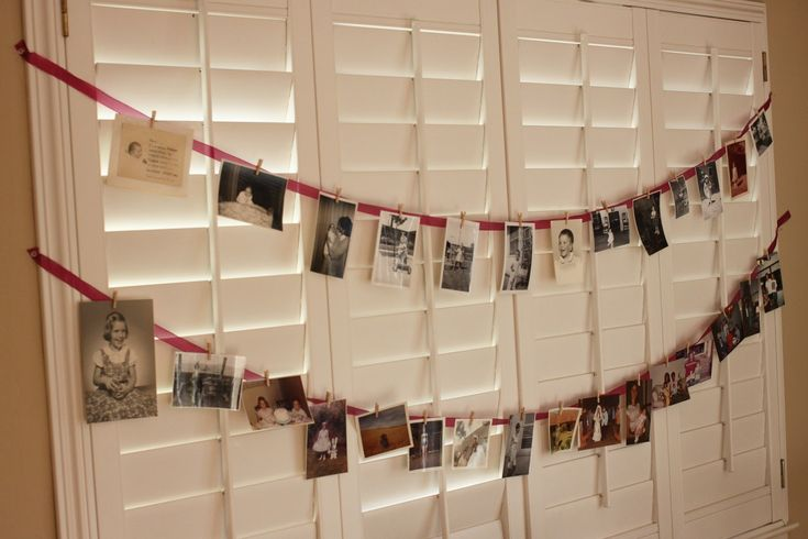 60th Birthday Party Decoration Ideas for men | For decorations, I just made a bunting of photos from my mom growing ...