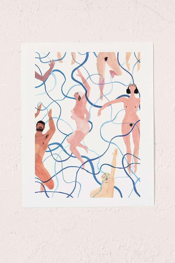 Slide View: 1: Rebecca Clarke Skinny Dippers Art Print