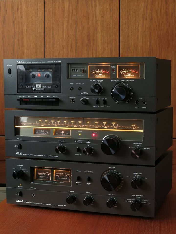 Vintage Akai GXC-706D cassette deck, AT-2450 tuner and AM-2450 integrated amplifier