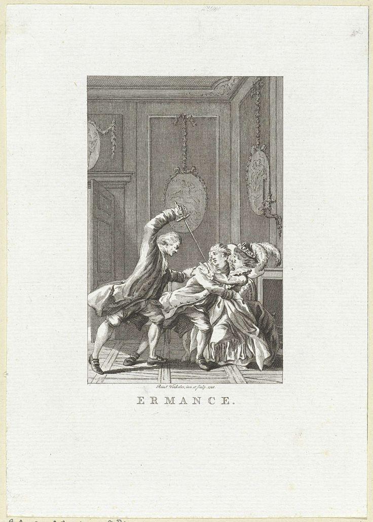Man staat op het punt om een andere man neer te steken, Reinier Vinkeles, 1786