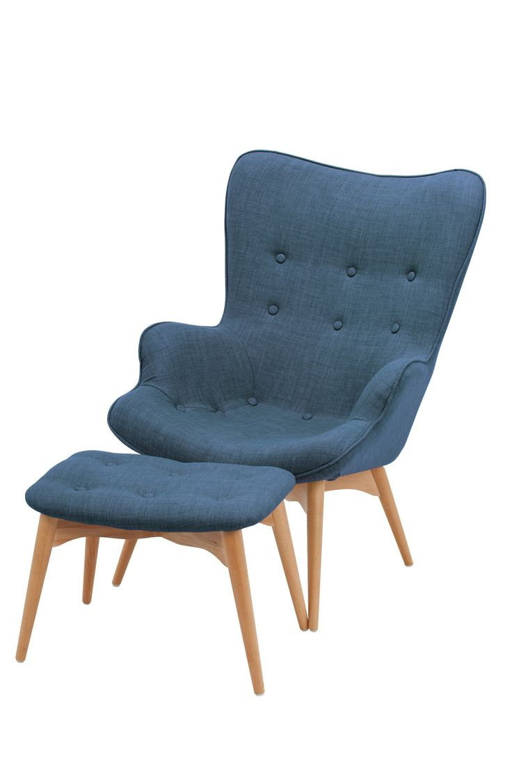 Replica featherston chair and ottoman navy blue linen for Navy blue chair and ottoman