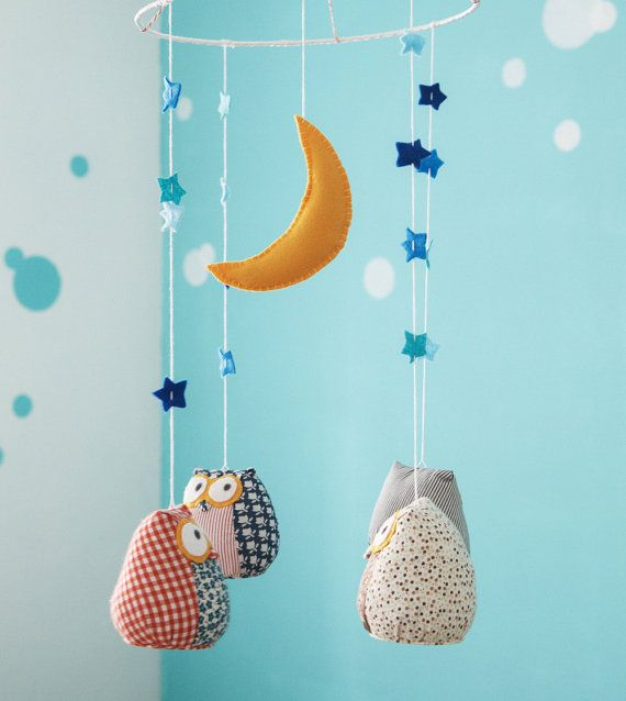 Owls baby nursery mobile - decorative mobile