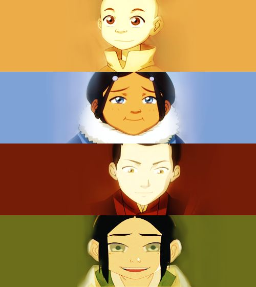 The main characters when they were kids! Aang (he didn't have his ...