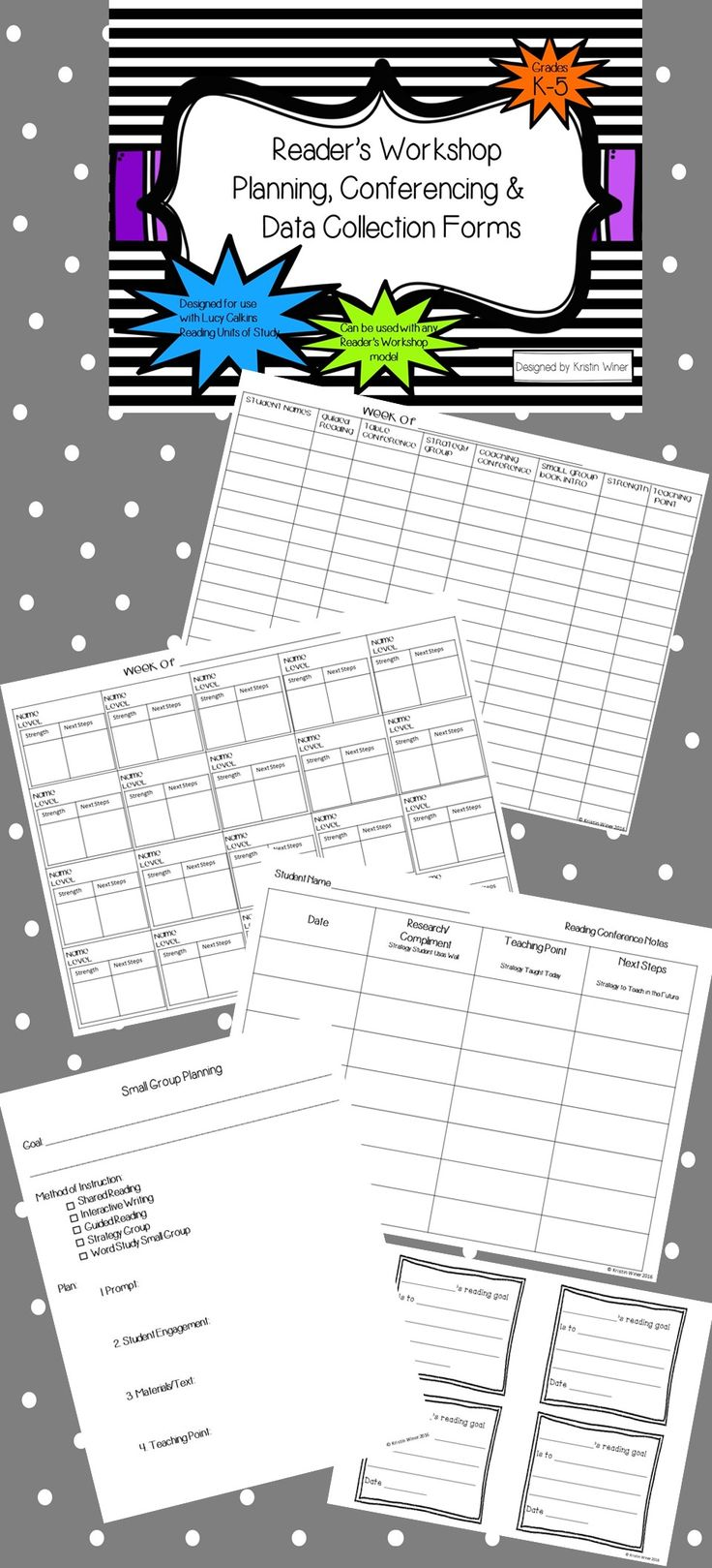 Struggling with how to organize all your guided reading, strategy groups and one-on-one conferencing during readers workshop? Look no further! This file will help you track student data and plan for small groups. This file reflects Lucy Calkins Reader's Workshop but can be used with any workshop model.