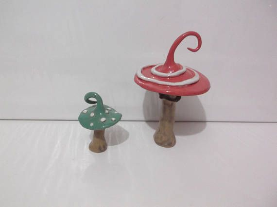 Alice in Wonderland Inspired Magical Toadstools, set of two, Handcrafted Stoneware