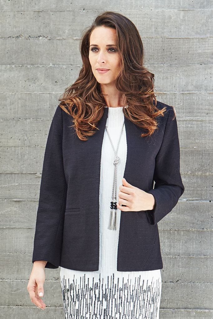 CHANEL STYLE JACKET  Timeless & classic, this Liz Jordan jacket will soon become your favourite go-to for layered dressing. The lurex-woven fabric shimmers under the light, while the open lapel & two front faux pockets add a sophisticated touch. Layer yours over everything, from cocktail dresses to workwear ensembles.