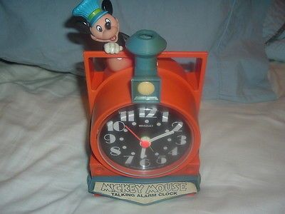 Working Disney Mickey Mouse Train Conductor Bradley Talking Alarm Clock,Talks!