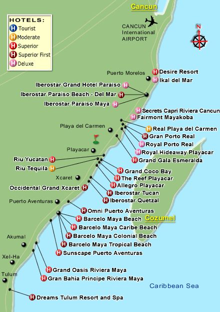 map of resorts Riveria Maya Playa del Carmen... We are going to Barcelo Maya Tropical Beach in June.