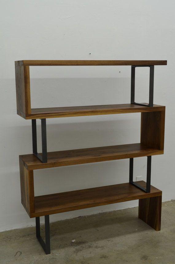 """Walnut wood and steel """"ribbon"""" bookshelf"""