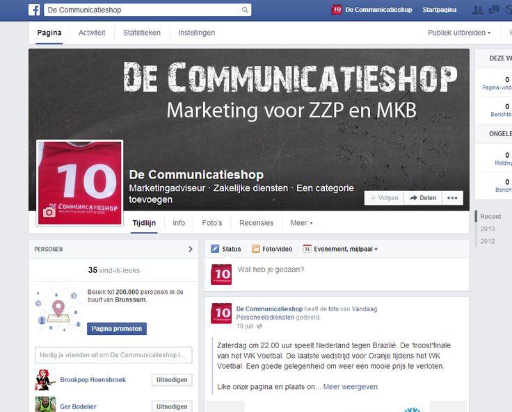 Facebook pagina De Communicatieshop