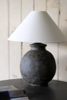 Cocoa Bean Table Lamp with Ivory Shade