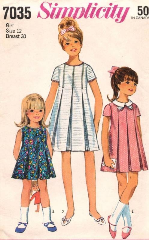 1960s VTG Simplicity Child's and Girls' Dress #Pattern 7035 Size 12 | eBay