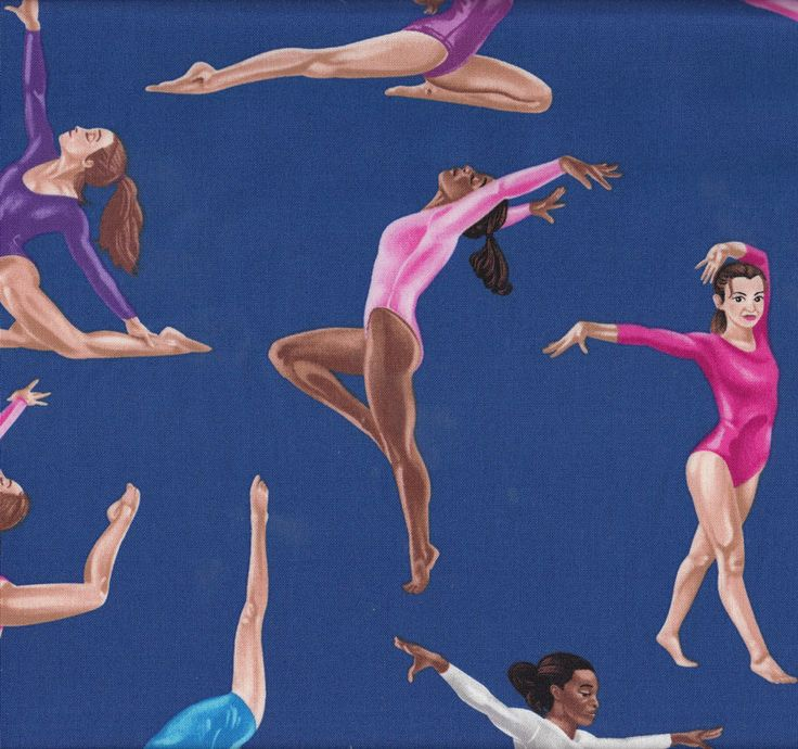 Gymnastics Gymnast Girls on Blue Sport Quilt Fabric - Find a Fabric. Available to purchase in Fat Quarters, Half Metre, 3/4 Metre, 1 Metre and so on.