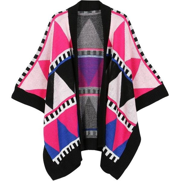 Multicolor Geometric Pattern Knitted Kimono Cardigan ($69) ❤ liked on Polyvore featuring tops, cardigans, colorful cardigans, multi color cardigan, black kimono top, geo print cardigan and kimono cardigan