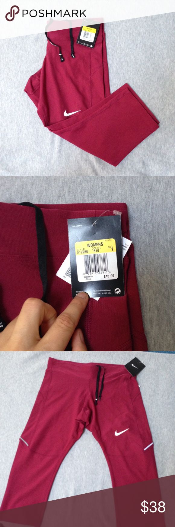 NWT Nike Running pants leggings size small Brand new with tags. Authentic Nike! CHECK OUT MY CLOSET FOR MORE DESIGNS SND SIZES! Maroon color with zipper pocket on the back Nike Pants Leggings