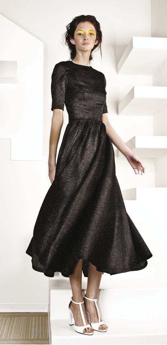 lurex dress in black