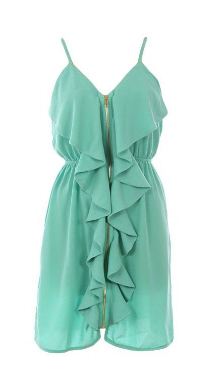 love the colorBy Pinterest, Summer Dresses, Bridesmaid Dresses, Front Zippers, Zippers Dresses, Pretty Summer, Ruffles Dresses, Pretty Teal, Mint Dresses