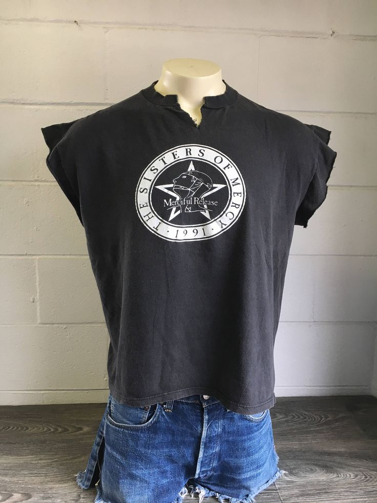 The SISTERS OF MERCY Tour Shirt 1991 Vintage/ Merciful Release 90s Vision Thing Album DiY Sleeveless/ English Goth Rock Uk Brockum UsA Xl by sweetVTGtshirt on Etsy