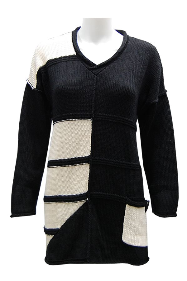Pure Handknit ~ Cotton sweater with black and white color block ...