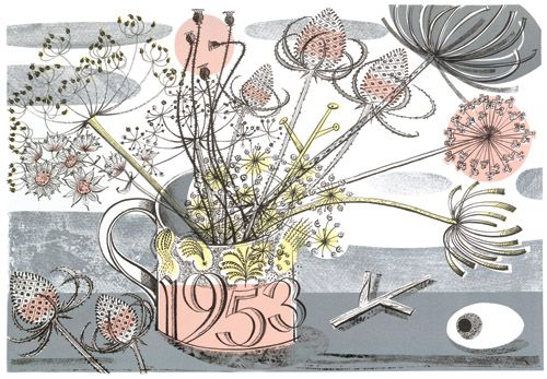 Angie Lewin, printmaker. Her still lifes are lovely and her book 'Plants and Places' is pretty good too.