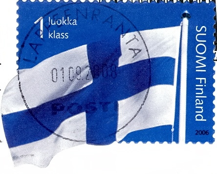 Finland - Stamp, 2006 shaped flag    Suomi Finland stamp from 2006 of the Finland flag. The bottom left corner of the flag is 'shaped' ;-)    postmarked in 2008 on a 'Savolinna, Olavinlinna Castle' postcard