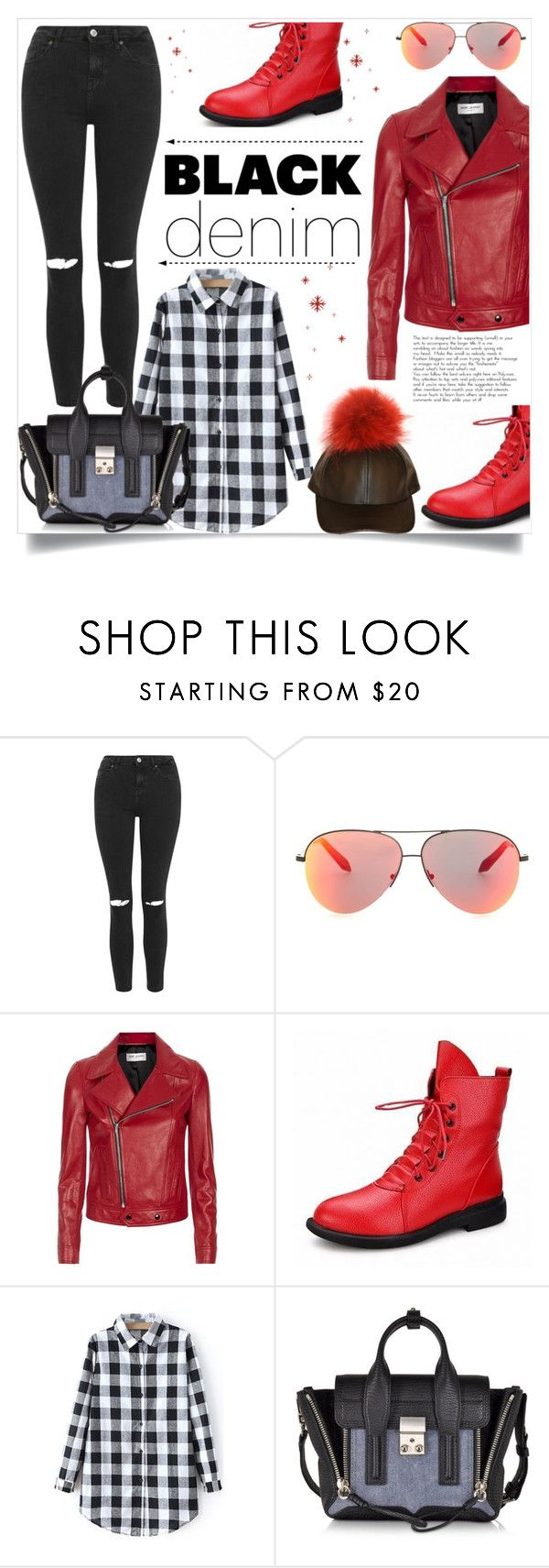 """""""Black Denim"""" by ladybug-100 ❤ liked on Polyvore featuring Topshop, Victoria Beckham, Yves Saint Laurent, 3.1 Phillip Lim, women's clothing, women's fashion, women, female, woman and misses"""