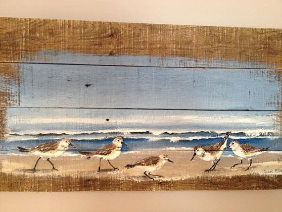 Pallet Art, Pallet Painting, Distressed Wood Art, Ocean Pallet Painting