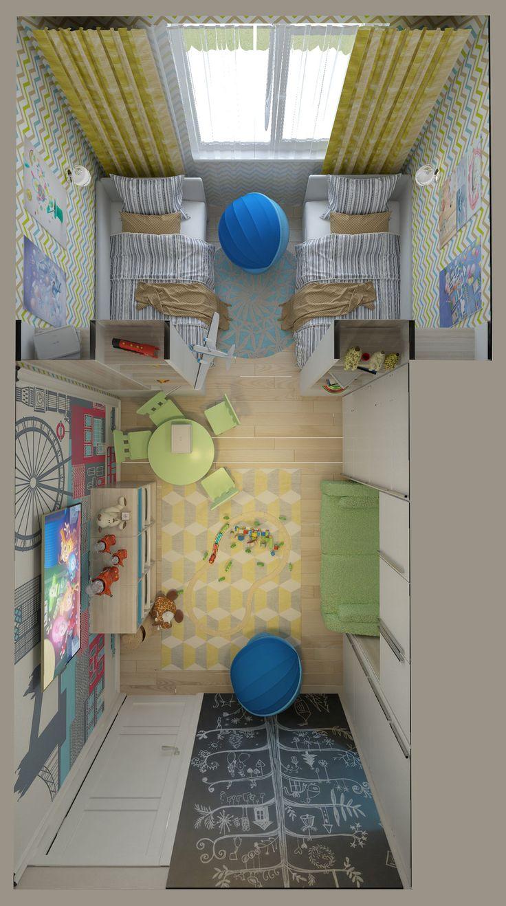 Детская-01. Телевизор на стене в детской комнате. Зелёная детская мебель. Ящики для игрушек. Диван под навесными шкафами. Грифельная стена. Вид сверху.