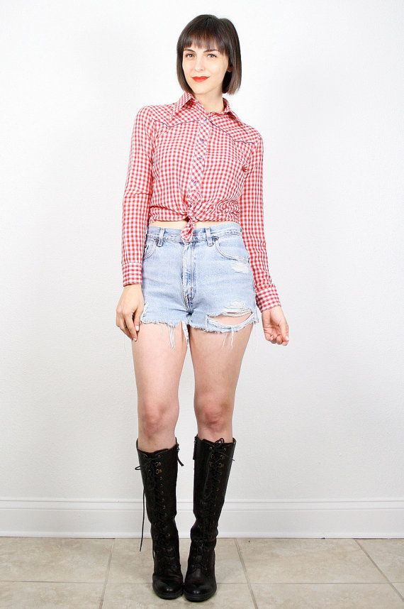 Vintage Western Shirt Red White Blue Cowboy Shirt 1970s 70s Rockabilly Shirt Long Sleeve Red White Gingham Plaid Cowgirl Top XS Extra Small by ShopTwitchVintage #vintage #etsy #70s #1970s #cowboy #cowgirl #western #gingham #rockabilly #shirt