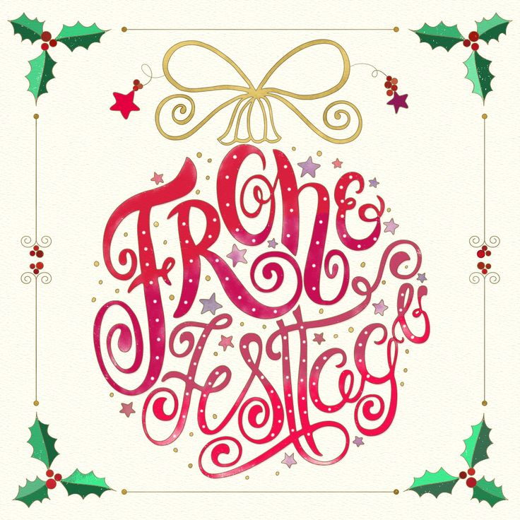 Hand Lettering. Christmas. Frohe Festtage. Holly jolly Christmas holidays. Hand drawn. Types. Hand Lettered. Coloring page for an Austrian Christmas book.