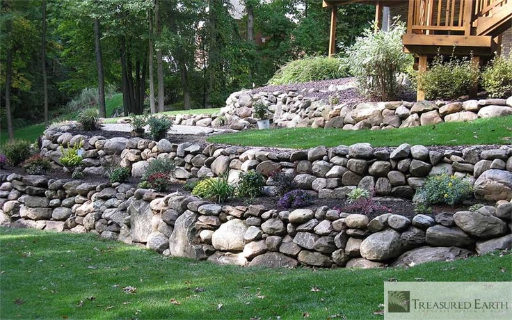 17 best images about stone wall ideas on pinterest for Stone retaining wall ideas