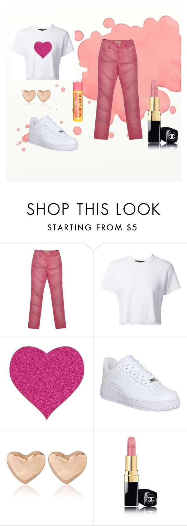 Casual pink heart outfit by little-bit-994 on Polyvore featuring Proenza Schouler, John Galliano, NIKE, Dinny Hall, Chanel and Burt's Bees