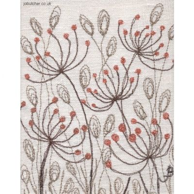 Fennel on Linen IV by Jo Butcher. takes inspiration from traditional country gardens and the rural simplicity of wild flower meadows. Hand and machine embroidery on hand painted backgrounds or reclaimed vintage linens.