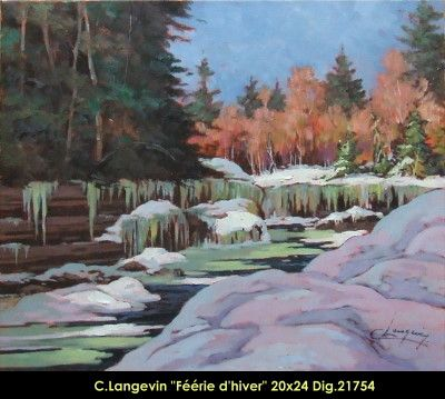 Claude Langevin original oil painting on canevas #claudelangevin #art #artist #canadianartist #quebecartist #originalpainting #oilpainting #countryscene #winterscene #river #balcondart #multiartltee