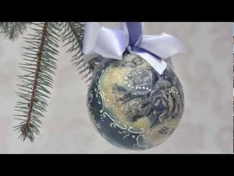 ▶ Decoupage krok po kroku - niebieska bombka - YouTube