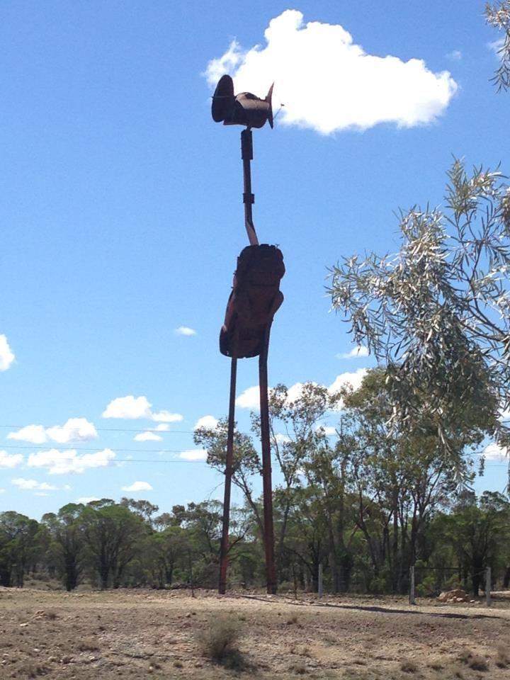 John Murray Emu Metal craft Sculpture At rest stop 15 km from Lightning Ridge