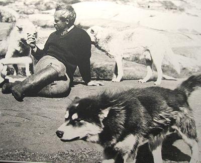 Dr. Grenfell and his sled dogs at The Grenfell Interpretation Centre, St. Anthony, Newfoundland