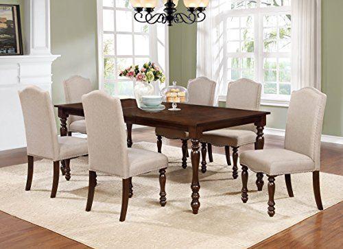 Amazon Com Gtu Furniture 7 Piece Walnut Finish Oversized Dining
