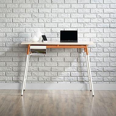 Sauder Square1 Desk, Maple/white/orange